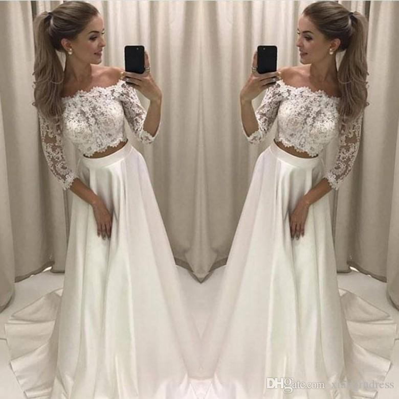 Discount Modern 2018 New Two Pieces A Line Wedding Dresses Lace Top ...