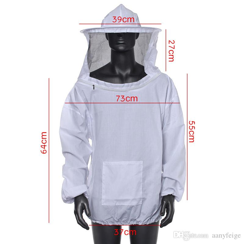 Polyester Cotton White Blue Protective Beekeeping Jacket Veil Dress With Hat Equip Suit Smock - Bee Coat Suit Clothes