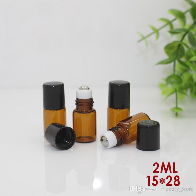 / 빈 향수 샘플 바이알 2ml 작은 앰버 롤러 병 에센셜 오일 유리 병 2 ml 롤 - 온 병 검은 색 플라스틱 모자
