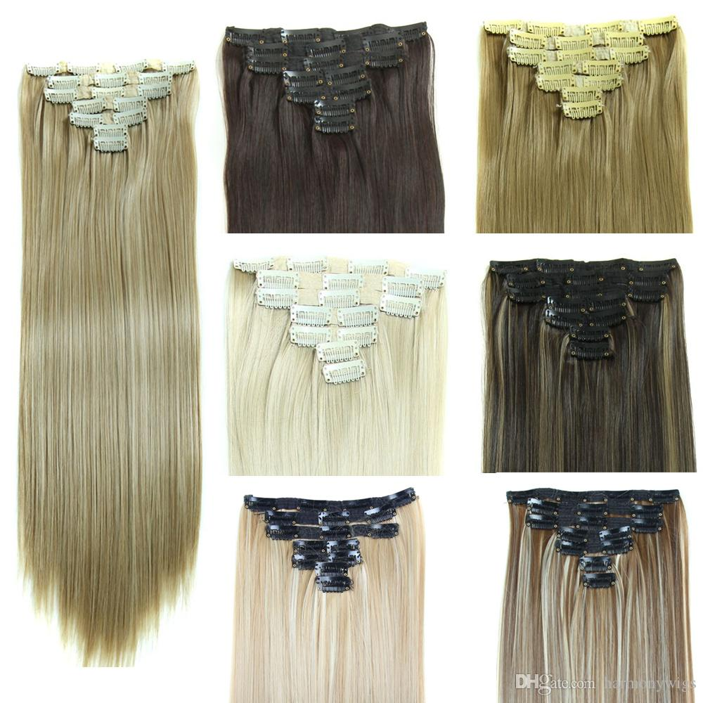260g Synthetic Clip In Hair Extensions Straight Hair Pieces 24inch