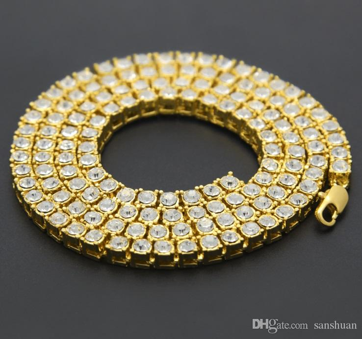 2018 Europe And America Jewelry, Men\'S Diamond Necklace, 1 Row ...