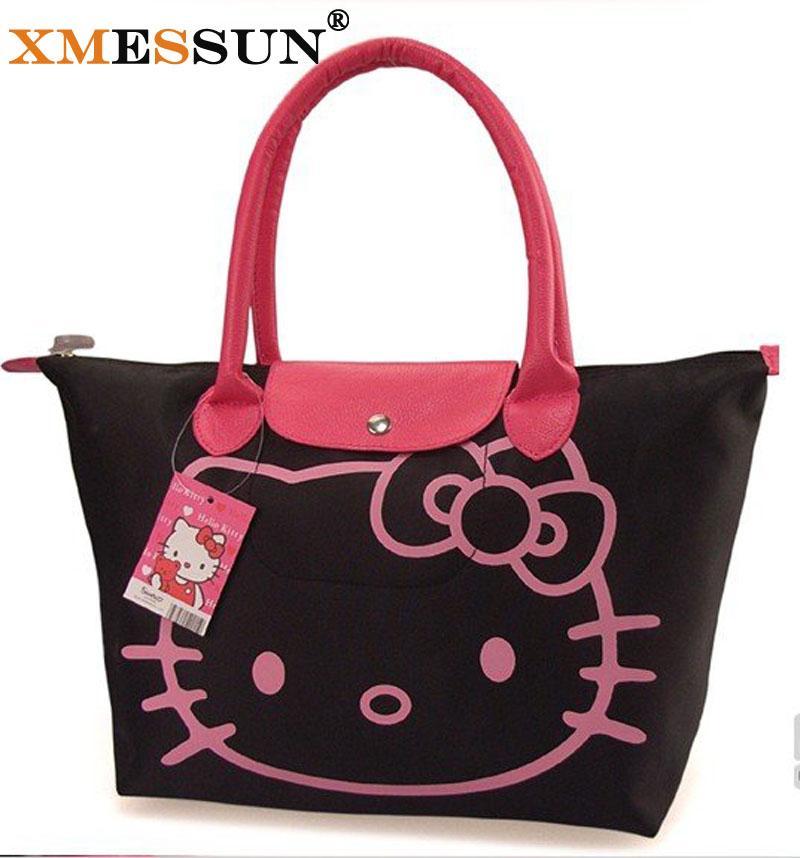 Hello Kitty Bag Designer Waterproof Shoulder Bag Black Shopping Girls Women  Handbags Bolsa Nylon Feminina Fiorelli Handbags Discount Designer Handbags  From ... 53b163656b7ff