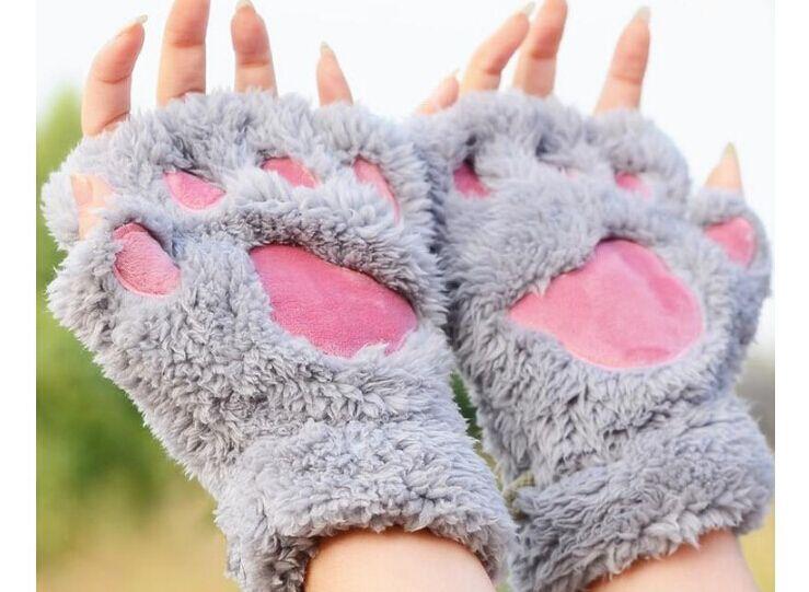 Claw Paw Plush Mittens Kurze fingerlose Halbfingerhandschuhe Bear Cat Plush Paw Claw Halbfingerhandschuh Weiche Halbhandschuhe 30 Paar