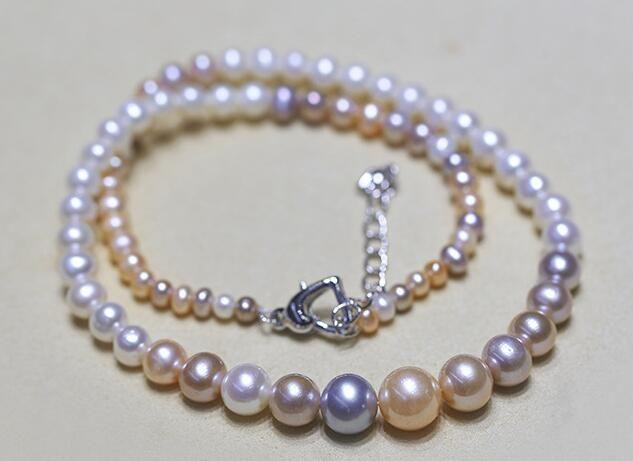 Collana di perle d'acqua dolce con catena d'acqua dolce 4-10mm di colore misto acqua dolce naturale