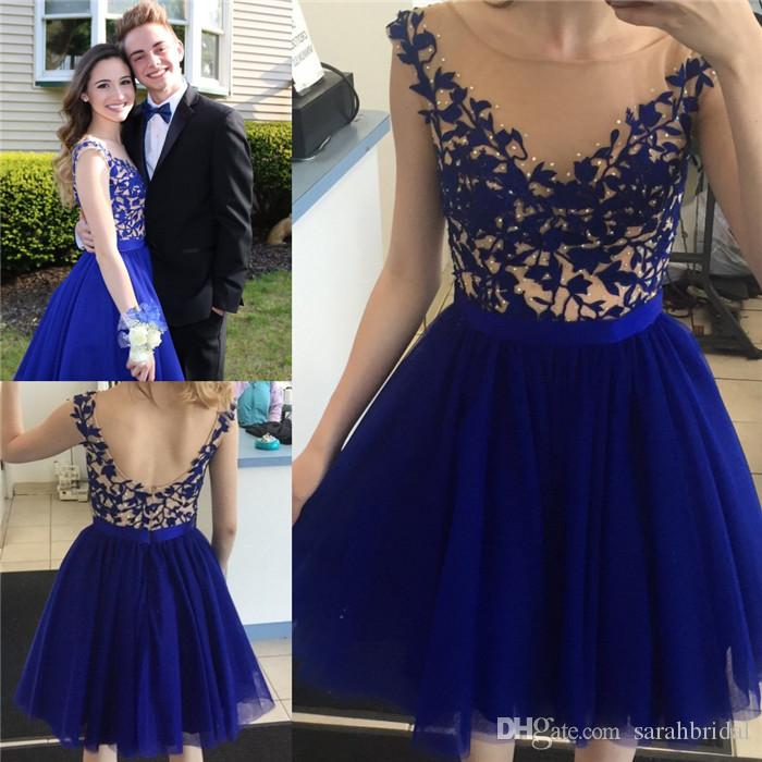 c8ef510fffe Bateau Cap Sleeve Above Knee Royal Blue Homecoming Dresses With Appliques  And Beading See Through Top Scoop Back Queen Prom Gowns For Girls Teal  Homecoming ...
