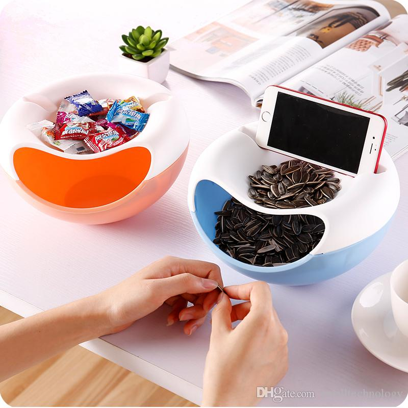 Creativo Snack di plastica piatto con doppio strato di buccia noci Frutta Snack Bowl Conveniente guardare TV Phone Holder Storage