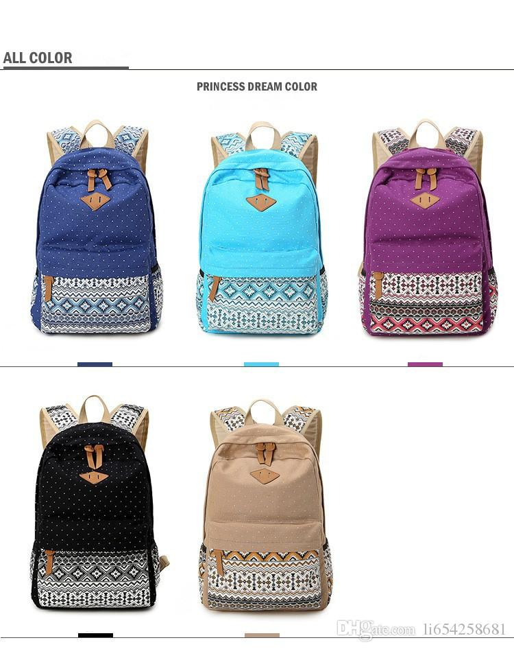 Korean Canvas Printing Backpack Women School Bags For Teenage ...