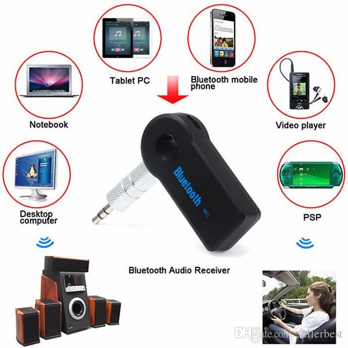 Gerçek Stereo Yeni 3.5mm Streaming Bluetooth Ses Müzik Alıcısı Araç Kiti Stereo BT 3.0 Taşınabilir Adaptörü Oto AUX A2DP için Handsfree Telefon MP3