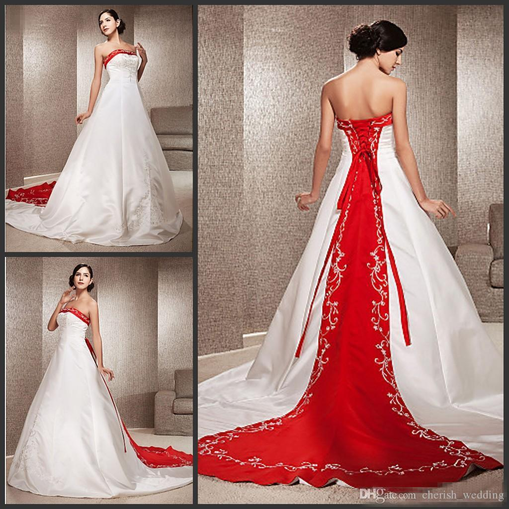 Wedding Gowns With Red: Vintage White And Red Wedding Dresses Plus Size Satin