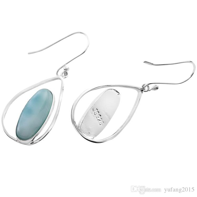2016 new design larimar earring 925 sterling silver handmade jewelery fashion oval shape wdding earring woma high quality gift for E241L