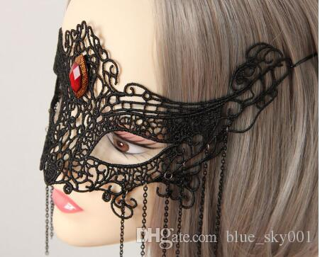 Black lace fox mask, European and American fashion semi face sexy veil, exaggerated dance headdress, Halloween Cosplay mask