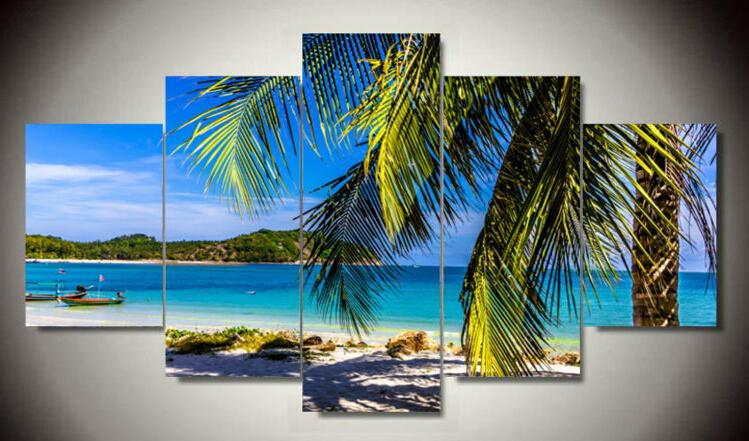 5 Panel Abstracto Cuadros de playa Cuadros Arte de la pared Pintura de la lona Cuadros de la pared para la sala de estar con enmarcado Envío gratis F / 1221