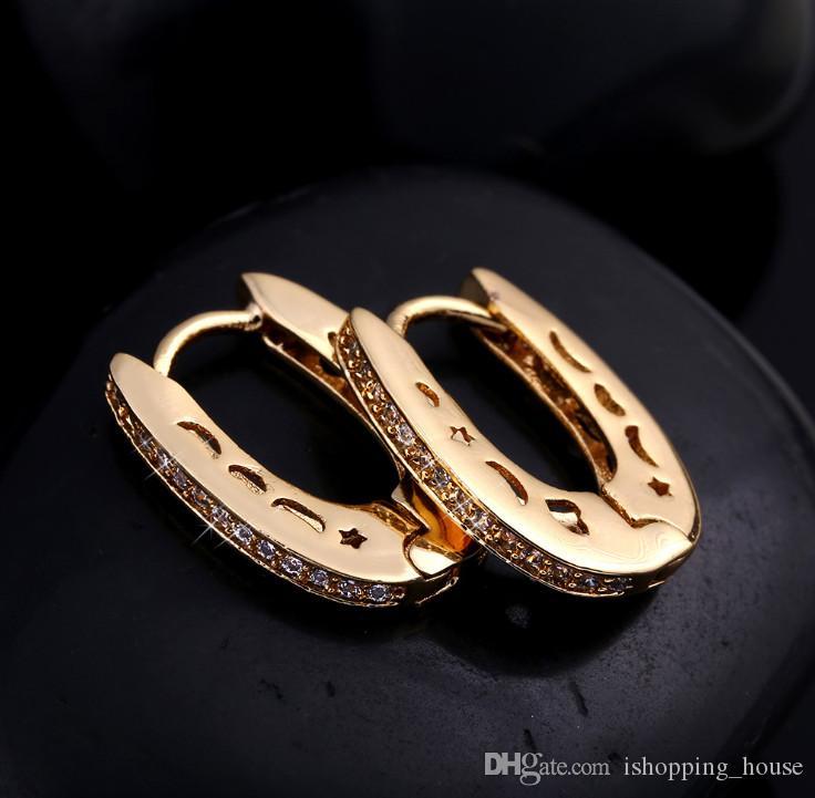 Die meisten mode desing 18 Karat Gelbgold Überzogene CZ Hohlstern Mond U form Clip hoop Ohrringe schmuck für mädchen für weding party