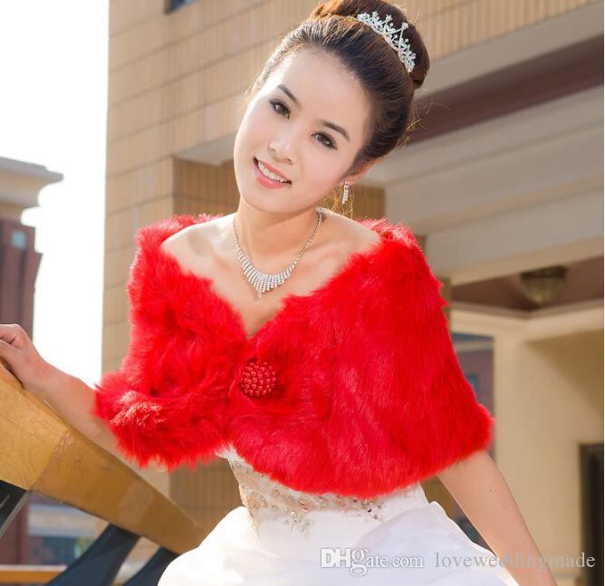 2017 Cheap Fake Faux Fur Cape Bridal Wraps Winter Coat Shrug Shawl Bolero From China