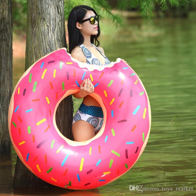 2016 sommer wasser toys 48 zoll gigantischen donut schwimmen float aufblasbare schwimmring 2 farben erdbeere und schokolade
