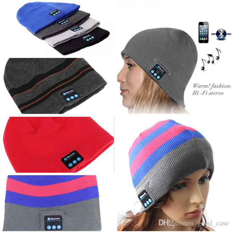 bd9a325db05 Bluetooth Music Hat Soft Winter Warm Beanie Cap With Stereo Headphone  Headset Speaker Wireless Microphone Headgear Knitted Cap For Iphone 7 Beanie  Hats For ...
