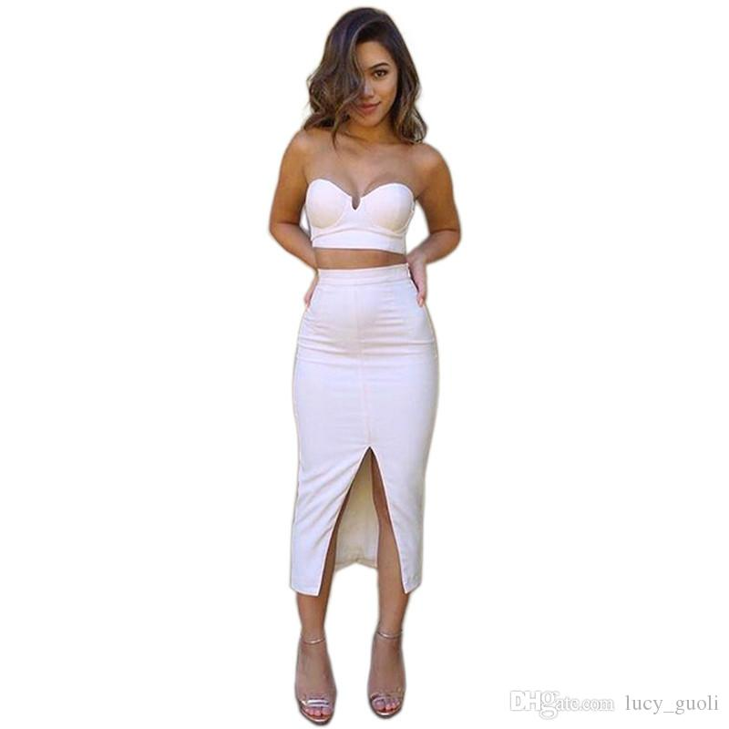 2016 New Promotion Vestido Strapless Dress Lady Sexy Set Bandage Dress And  Pencil White Dresses Open Fork Dress Party Club Dress Girls Party Dresses  Evening ... d8ed974a7370