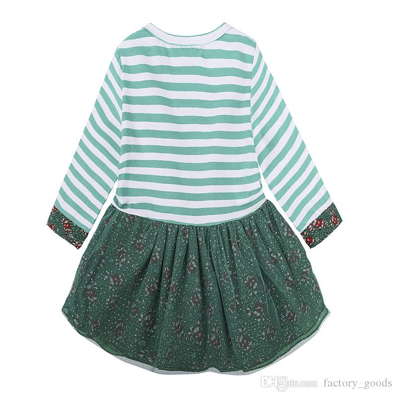 Baby Girls Christmas Dresses Reindeer Striped Long Sleeve Tops Dress Lace Tulle Short Skirt New Kids Clothing Free DHL 394
