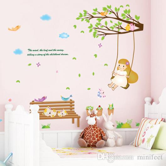 Little Girl Swing Pvc Wall Stickers Children Bedroom Sitting Room  Background Adornment Can Removable Wall Stickers Stickers Decor Stickers  For Bedroom Walls ...