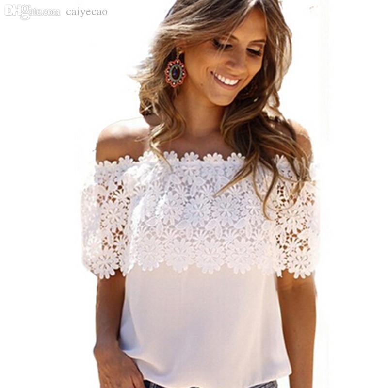 5f6bc66cdc8859 2019 Wholesale Hot Sale New 2016 Lace Shirt Women Off Shoulder Tops Short  Sleeve Sexy Chiffon Blouse Plus Size S 3XL From Caiyecao