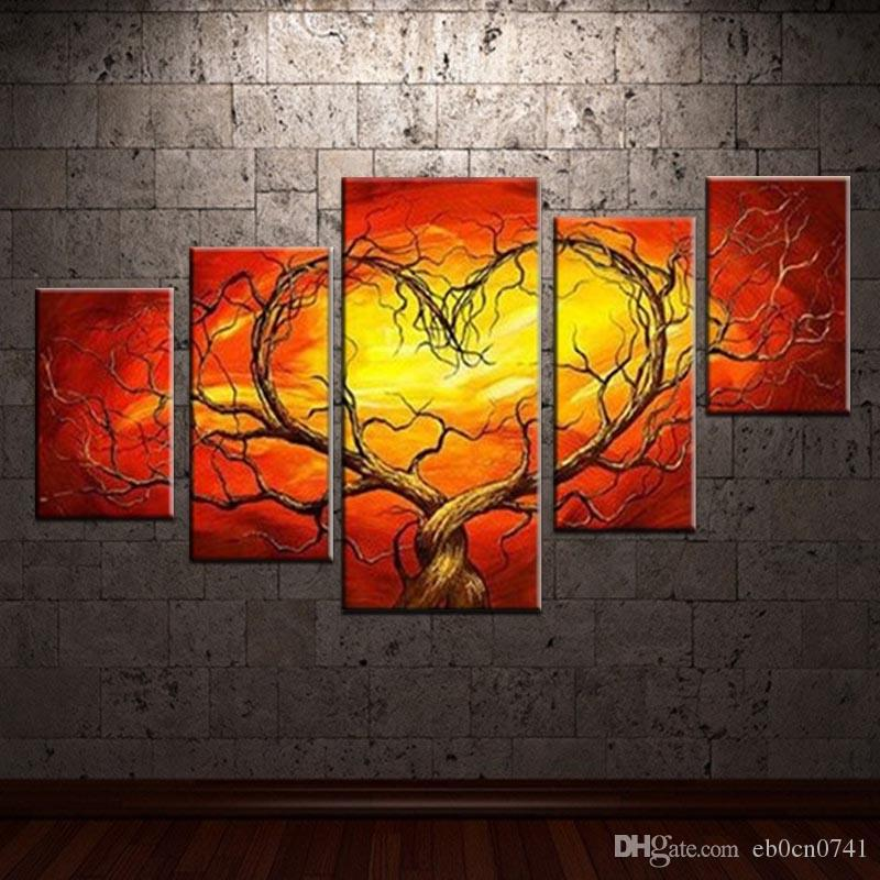 100 Handpainted Wall Paintings Home Decorative 5pcs Set Cloud Background Heart Shaped Abstract Tree Modern Abstract Art Painting