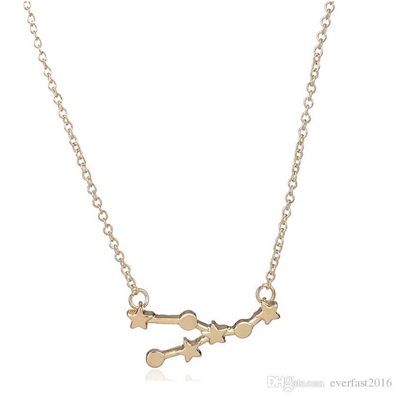 2016 Yeni Toros Burç Astroloji Kolye Kolye Gerçek 18 K Altın Gümüş Kaplama Yaz Collier Kadınlar Aşk Takı Toptan Ve Perakende