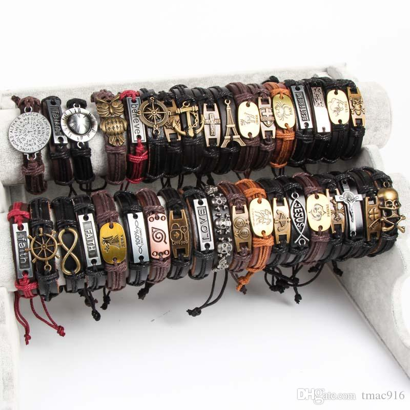 Band New Vintage Metal Leather Women Womens Surfer Bracelet Cuff Muñequera Mixed Style aleación colgante Retro Jewelry Charm Bracelet