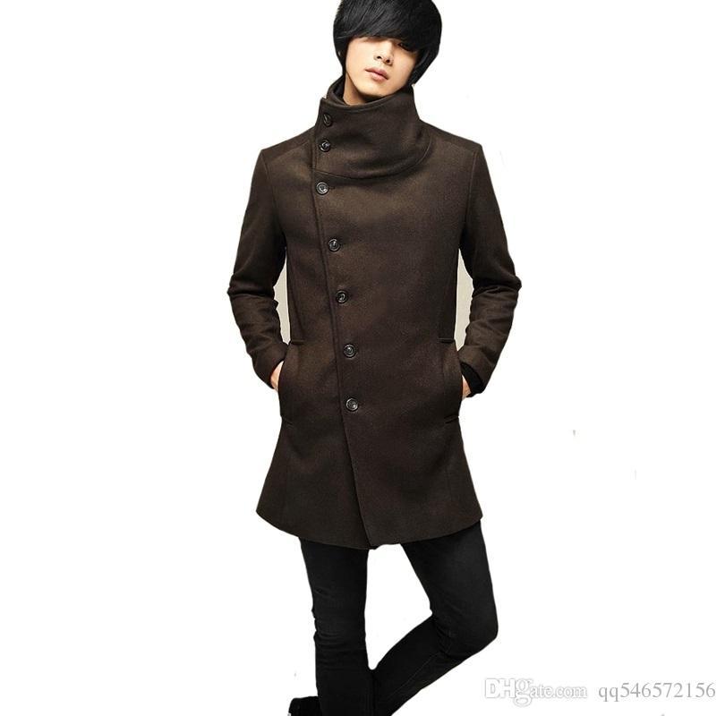 Autumn Winter Men Coat Blends Cheap Jackets Outerwear Warm Loose ...