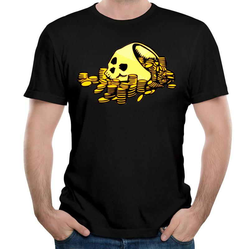 Unique t-shirt funny men's T-shirt skull and money 3D print shirt 100% cotton short sleeve T-shirt comfortable breathable shirts 6XL