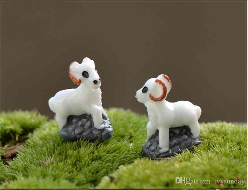 Micro Paisagem Em Miniatura de Resina cabra branca com fundo frasco De Musgo plantas Suculentas pote decoração adereços ecológicos diy resina artesanato materiais