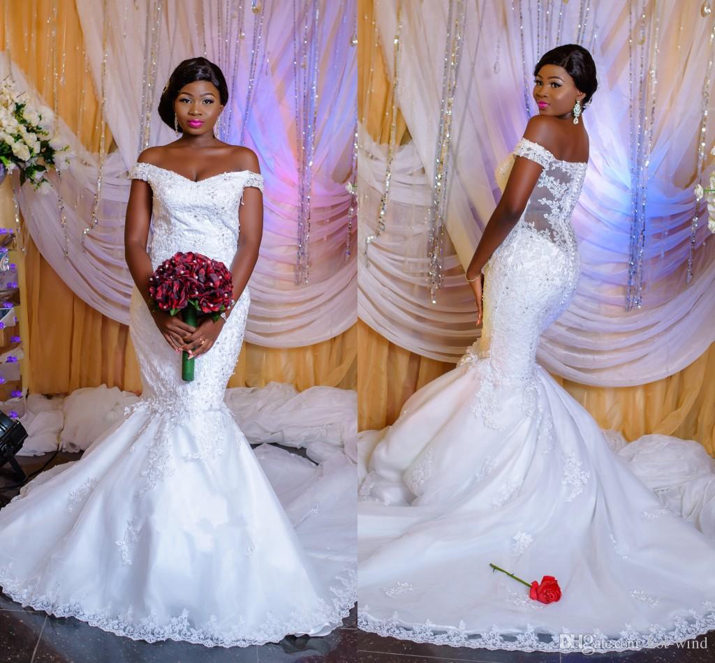 White Off the Shoulder Mermaid Wedding Dresses 2019 Country Arabic Nigerian Lace Beads Bridal Gowns Custom Made vestidos de novia
