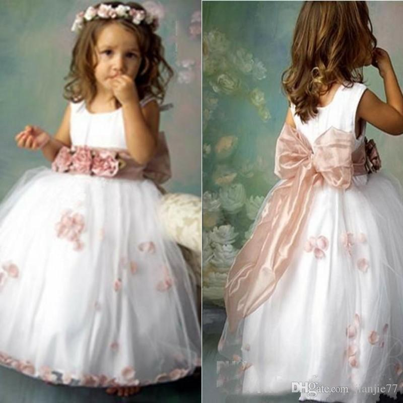 2018 Lovely Bridal Flower Girl Dress Crew Tulle Appliques Kids ...