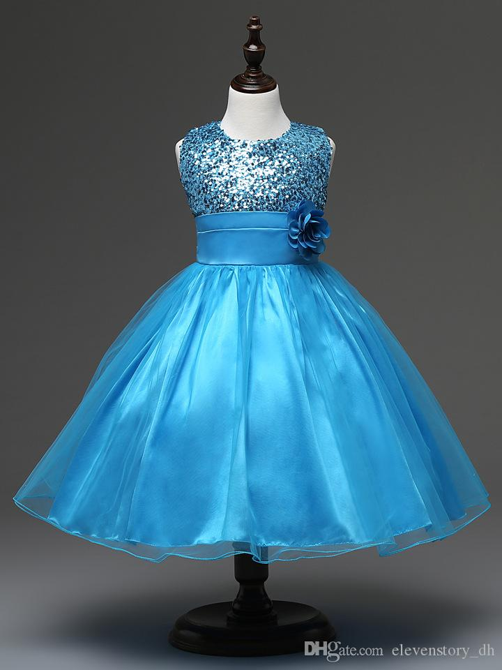 Girls summer shining flower baby princess ball grown dress kids tutu sequined Retail clothing wedding party dance, R1AQ510DS-01