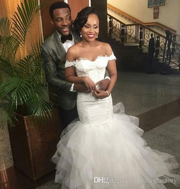 Delicate Wedding Dresses African Fit and Flare Trumpet Bridal Gowns Off the Shoulder Lace Appliques Puffy Tulle Skirt Bride Formal Wear