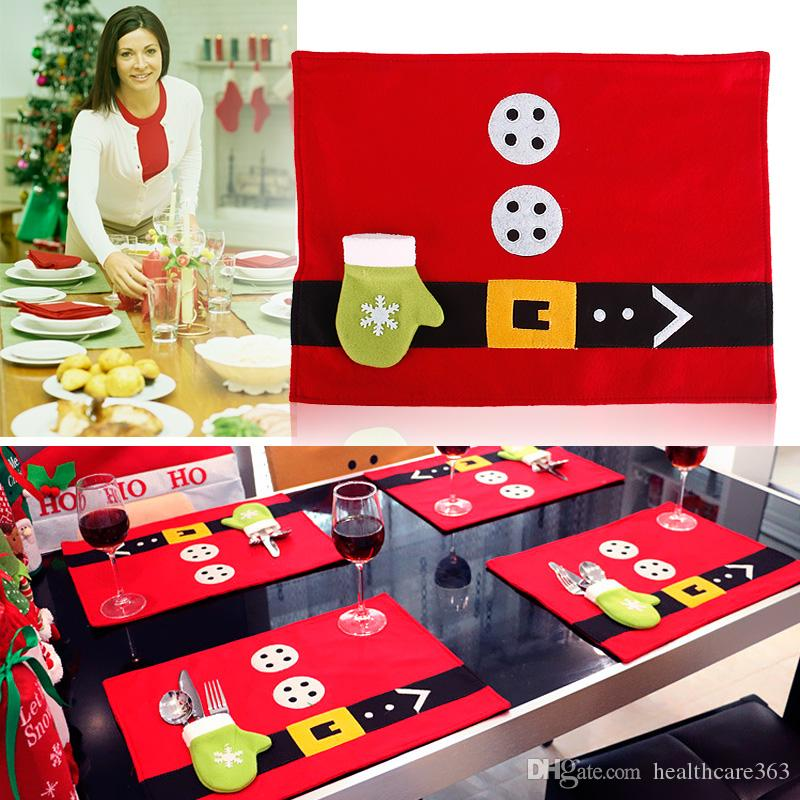 2018 2016 Christmas Decorations Table Mats Placemat Knife And Fork Christmas  Table Cloth Pad For Dining Table Set Navidad Natal From Healthcare363, ...