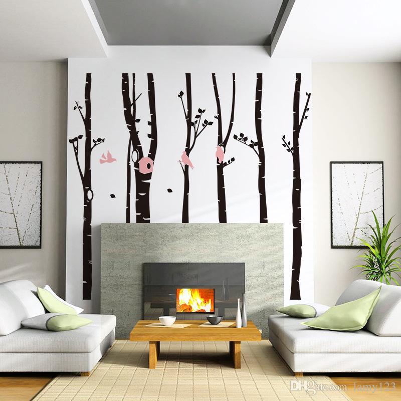 / pack DIY Grand Forêt Oiseaux Arbre Autocollant Mural Salon Chambre Fond PVC Étanche Amovible Décoration de La Maison Decal 98.9x90.6