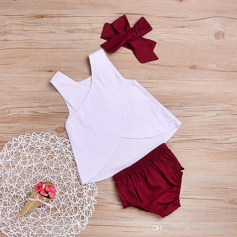 Baby Clothes Girls Clothing Summer Sleeveless Pure White Back cross Vest + Shorts + Headband Kids Clothing Set Girls Outfits Suits Cute