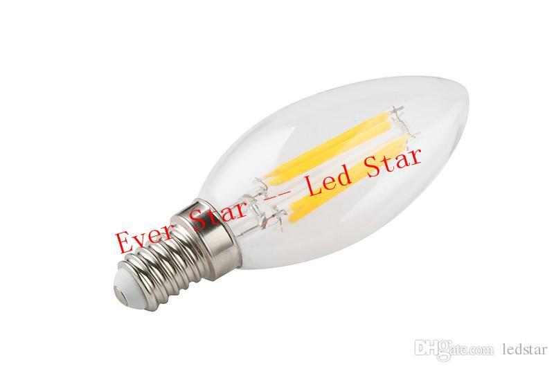 Double Golden Wires 2W 4W Edison LED Filament Bulbs Dimmable E12 E14 E17 Led Candle Lights Lamp 360 Angle Energy Saving AC 110-240V