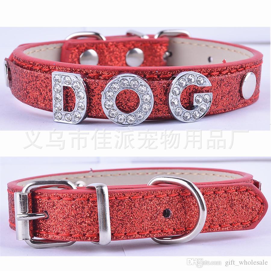 5 цветов 1.5*31cm смешанная кожа PU персонализированные пользовательские ошейники для собак 10 мм буквы и подвески