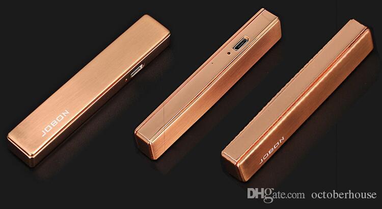 Carregador USB ultra-fino Windproof metal Isqueiros rechangeable fumar cigarro eletrônico mais leve para homens e mulheres da moda presente Jobon