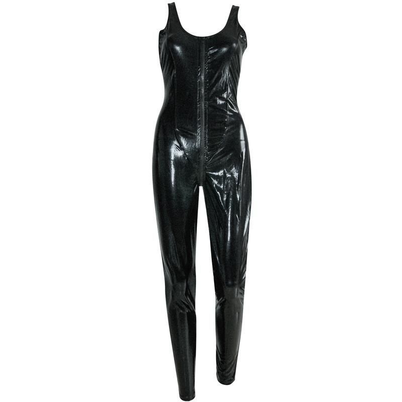 Lady Black Faux Leather Catsuit Sexy Mono largo sin mangas con cremallera a la entrepierna Lace Up Bodysuit Pole Dance W207791 traje