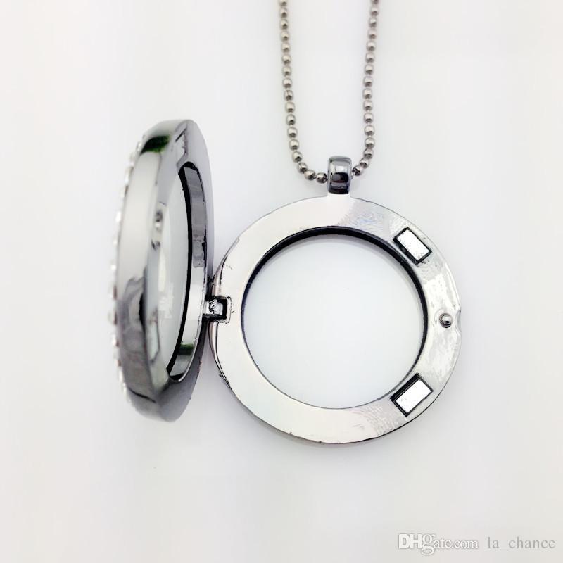 es charmful flotantes mujeres collar pendiente del Locket magnética Memoria Viva de vidrio flotante encanto del Locket con cadenas de cuentas collares de bricolaje