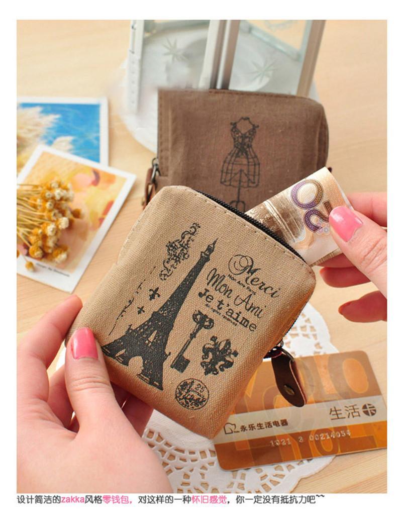 Retro Paris Lady Girl Coin Purse Bag Change coin Pocket Money Wallet Zipper Pouch Card Case Key Holder B912