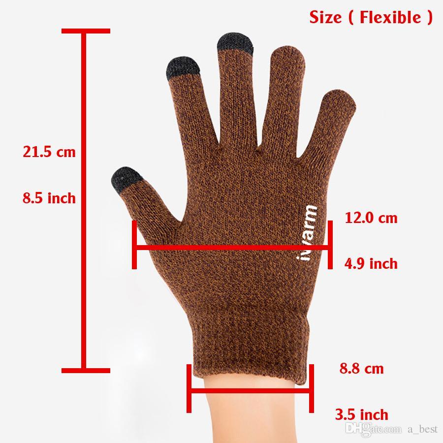 Newest Womens Touch Screen Gloves Wear Anti-slip Knitted Full-finger Men Mittens Driving Glove for Men Women Winter Warm Gloves High Quality