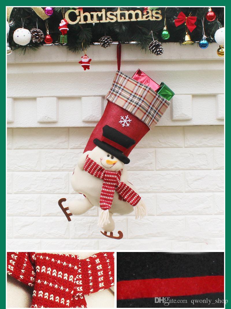 36 стили новое Прибытие 2017 рождественские чулки декор орнамент украшения партии Санта рождественский чулок конфеты носки сумки рождественские подарки мешок DHL