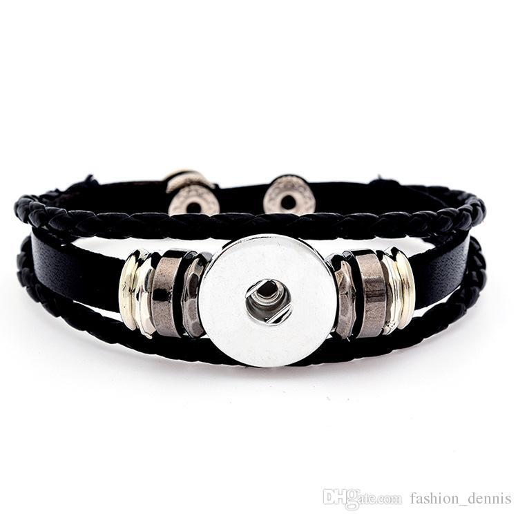 Noosa capa múltiple trenzada pulseras de cuero 18 MM Chunks intercambiables Ginger Snap Button encantos del brazalete para mujeres hombres joyería de moda