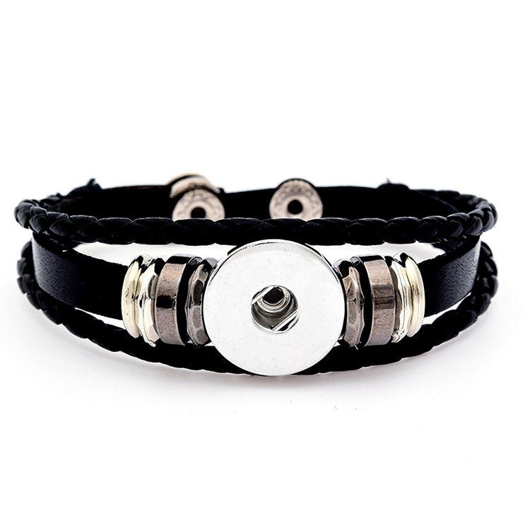 Noosa Multi Layer geflochtene Lederarmbänder 18MM Chunks austauschbare Ingwer Druckknopf Charms Armreif für Frauen Herrenmode