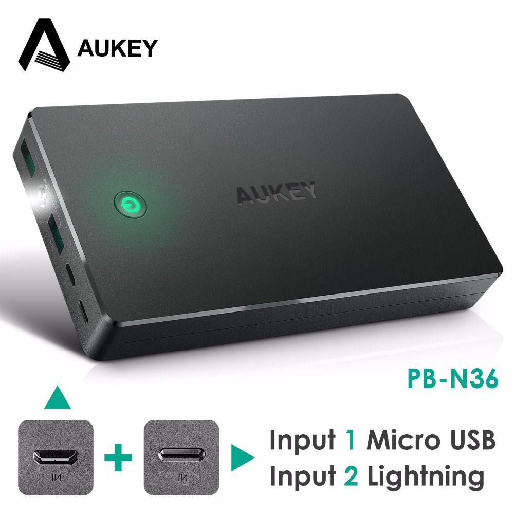 2018 aukey power bank dual usb 20000mah portable external battery