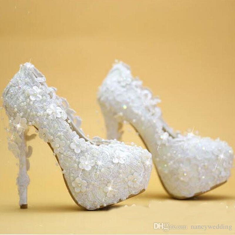 Hochzeit Schuhe Weiß Spitze Elegante Braut Kleid Schuhe Dünne Ferse Plattform Brautjungfer Schuhe Neue Designer Frauen Party Pumps