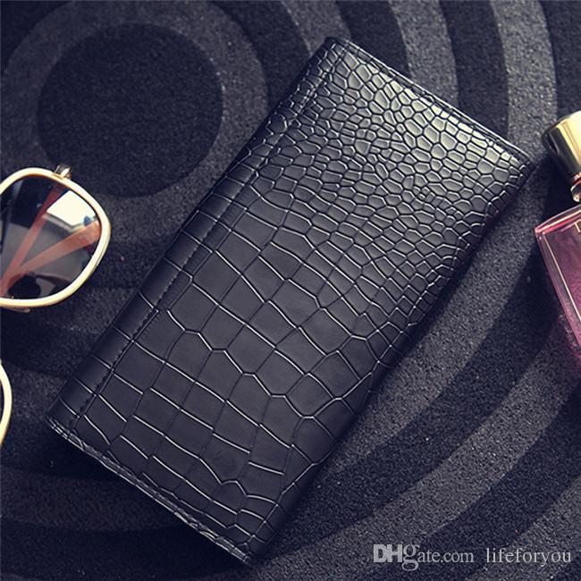 Portefeuilles de femmes longues vintage porte-monnaie d'embrayage top mode Mesdames Croco PU cuir trois portefeuilles et porte-cartes de crédit carte de crédit